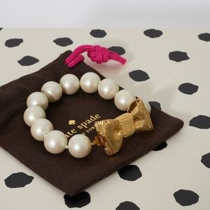 Kate Spade All Wrapped Up Pearl Gold Bow Bracelet